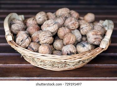 Autumn Wallnuts in backet