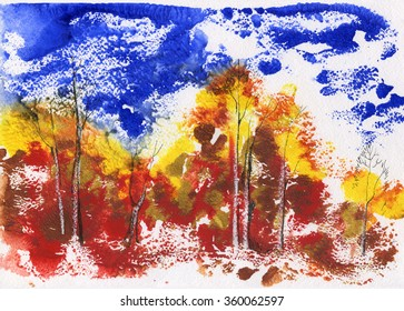 Autumn watercolor monotype