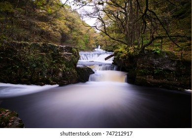 Autumn waterfall in the Brecon Beacons, Wales