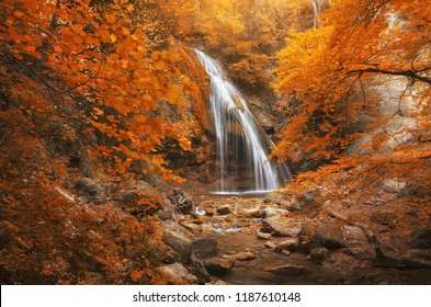 Autumn waterfall and rill flow. Nature composition.
