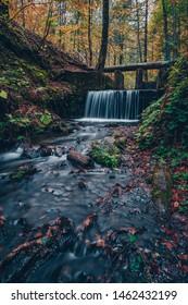 autumn waterfall scenery bolu yedigoller national park, Bolu Turkey