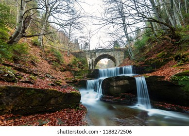 Autumn waterfalls near Sitovo, Plovdiv, Bulgaria. Beautiful cascades of water with fallen yellow leaves.