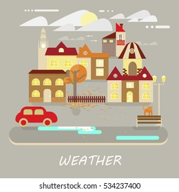 Autumn weather colorful landscape banner. It's cloudy, sunny. Small town landscape in flat style. Rastered copy