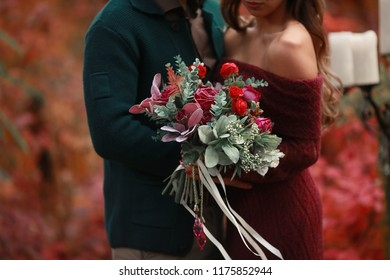 Autumn wedding decoration and wedding bouquet