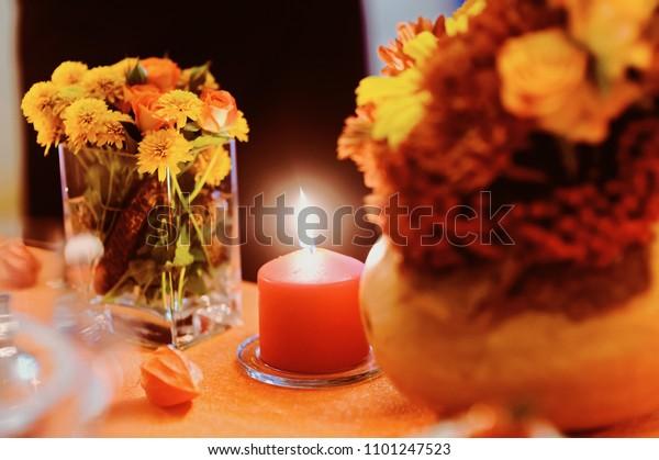 Autumn Wedding Decoration Flower Composition Roses Stock Photo ...