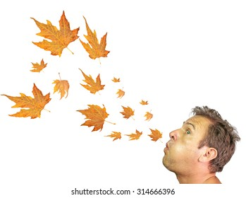 autumn wind, leaves - man blowing - isolated