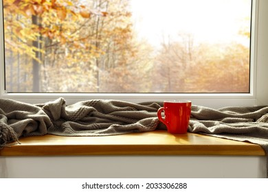 Autumn window sill background and free space for your decoration.