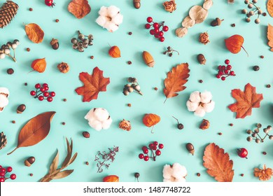 Autumn or winter composition. Dried leaves, cotton flowers on pastel blue background. Autumn, fall, winter concept. Flat lay, top view