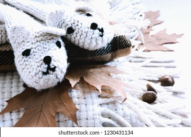 Autumn or winter concept, lifestyle blogers.Goodbay autumn - Hi winter. Gloves with bears on a warm blanket and autumn leaves.