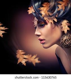 Autumn Woman. Fashion Girl Makeup. Fall Make-up. Hairstyle