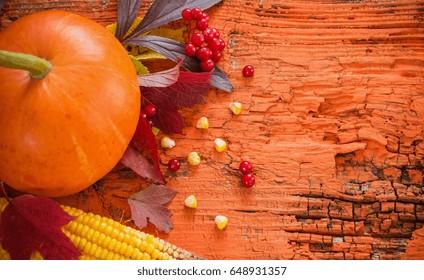 autumn wooden background with pumpkin