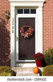 autumn wreath on door
