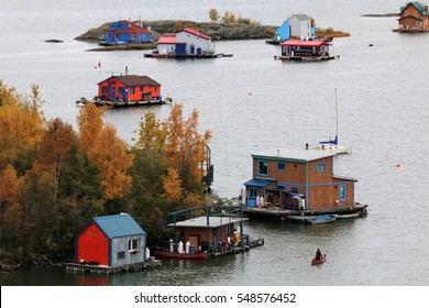 Autumn in Yellowknife, Northwest Territories of Canada. View to the House Boats in the Yellowknife Bay of the Great Slave Lake.