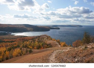 The Autumn in Zhiguli hills.  The Volga river in Russia.