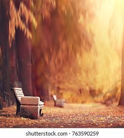 autumnal background square blurred / autumn landscape in the park, blurred bokeh background, trees with yellow leaves and alleys, concept of autumn vacation alone