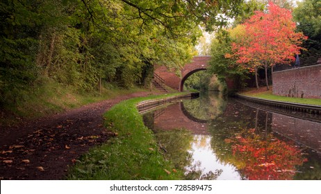 Autumnal canal scene A traditional bridge over an English canal is reflected in the water along with a pretty tree with the colours of fall.