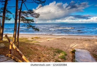 Autumnal coastal landscape of the Baltic Sea in Jurmala - famous tourist resort in Latvia, EC