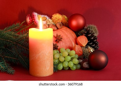 Autumnal Field Crops with burning candle