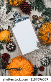 autumnal gray wood background with decoration