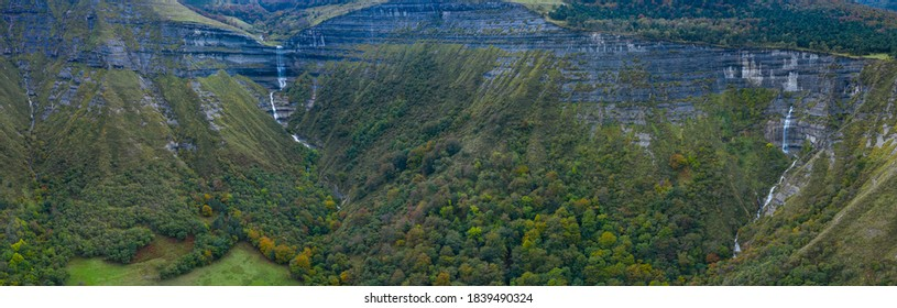 Autumnal landscape around San Miguel waterfall in the Angulo Valley within the Mena Valley municipality in the Merindades region of the province of Burgos in Castilla y Leon of Spain, Europe - Shutterstock ID 1839490324