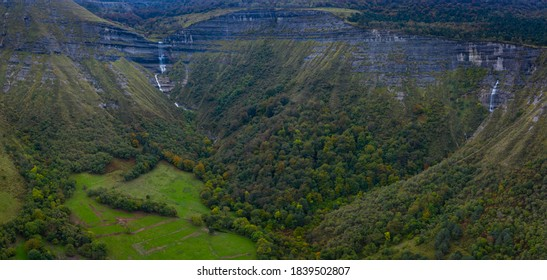 Autumnal landscape around San Miguel waterfall in the Angulo Valley within the Mena Valley municipality in the Merindades region of the province of Burgos in Castilla y Leon of Spain, Europe - Shutterstock ID 1839502807