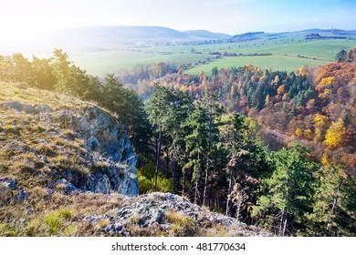 autumnal landscape with rocks,, Kotyz reservation, Koneprusy caves, Czech Karst, Czech Republic