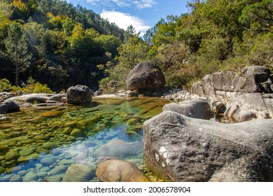 Autumnal landscape in the valley of the Homem River across Mata da Albergaria forest, Peneda Geres National Park, Portugal