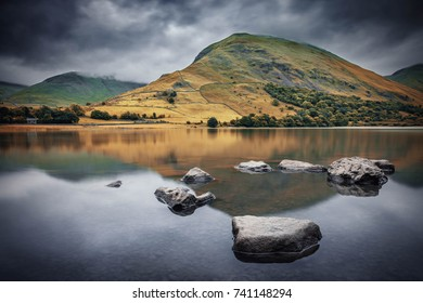 Autumnal Mountain Reflection on Surface of Lake , Lake District National Park