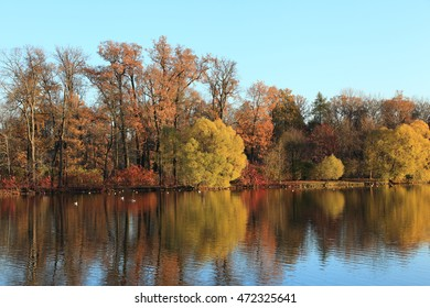Autumnal nature landscape background. Picturesque reflections in the water and blue sky, fall season. Trees in sunny park Autumn Wallpaper.