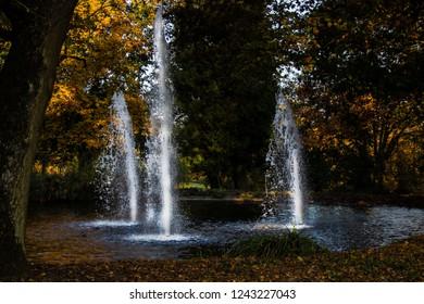Autumnal Park of Villa Berberich in Bad Säckingen, Germany