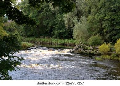 Autumnal river scene in Ayrshire Scotland