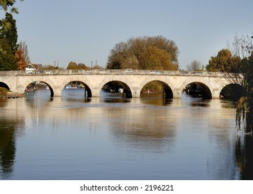 Autumnal scene of an Historic River over the River Thames in England