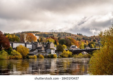 Autumnal scene in Perth, Scotland. Taken from the North Inch and looking over the River Tay to Bridgend and Smeaton's Bridge.