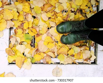 autumnal story with foliage and boots
