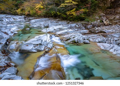 The autumnal tints of the ravine. This ravine is being called Omogokei. Ehime prefecture, Japan