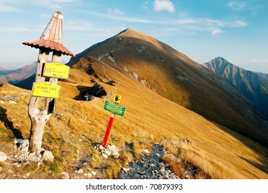 autumnal view from rohace mountains with guidepost - zapadni vysoke tatry - west high tatra mountains- Slovakia