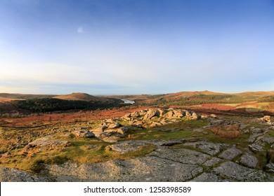 Autumnal views across open moorland on Dartmoor
