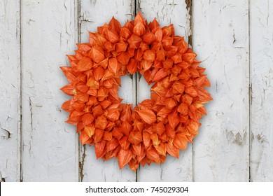 Autumnal Wreath with Physalis (Physalis alkekengi) on grunge background