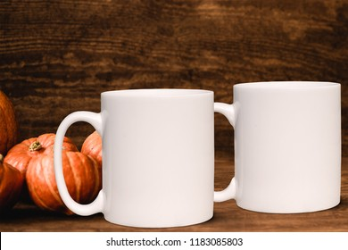 Autumn/Fall 2 mug mock-up. Two white blank coffee mugs to add custom design or quote. Perfect for businesses selling mugs, just overlay your quote or design on to the image.
