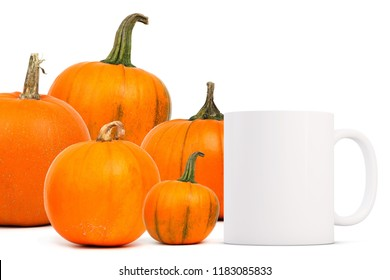 Autumn/Fall mug mock-up. White blank coffee mug to add custom design or quote. Perfect for businesses selling mugs, just overlay your quote or design on to the image.