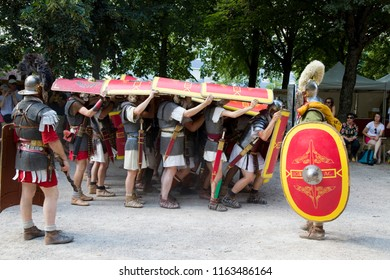 AUTUN, FRANCE - AUGUST 5: Roman spectacle in Autun, with gladiators and legionaries, on August 5, 2018, in Autun, Burgundy, France.