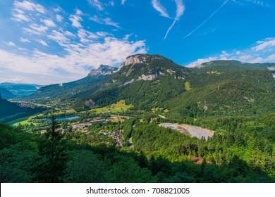 Auvergne Rhone Alpes Region. Magland Commune in Haute-Savoie department. Summer Landscape.