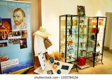 Auvers sur Oise; France - september 30 2018 : the tourism office gift shop