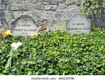 AUVERS-SUR-OISE, FRANCE - JULY 14, 2016: Graves of the famous Dutch painter Vincent Van Gogh (1853-1890) and his brother, the art dealer Theodore Van Gogh (1857-1891)