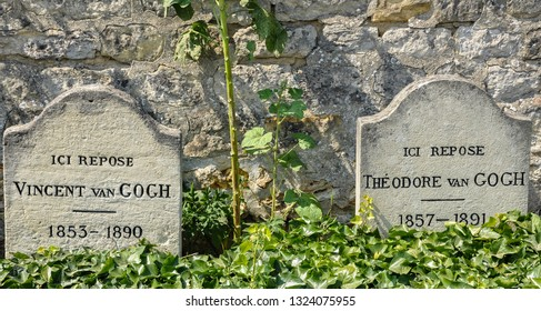 AUVERS-SUR-OISE, FRANCE. July 21, 2013. The tombs of Vincent and Theo Van Gogh. Auvers-sur-Oise is an artists' village 30 kilometres north of Paris.