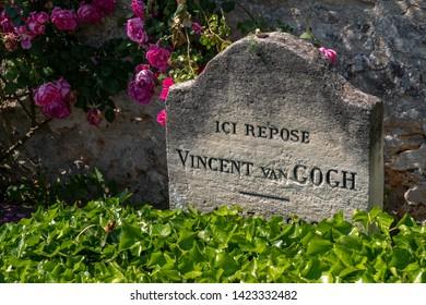 Auvers-sur-Oise, France - June 1, 2019: The tomb of Vincent Van Gogh