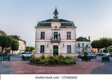 AUVERS-SUR-OISE, FRANCE - OCTOBER 19, 2016: City hall (Hotel de Ville). City hall in Auvers sur Oise painted by Van Gogh.