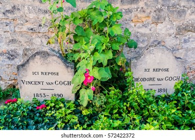 AUVERS-SUR-OISE, FRANCE - OCTOBER 19, 2016: Vincent Van Gogh tomb at the village churchyard Auvers-sur-Oise, in French department of Val-d'Oise, France.