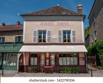 Auver-sur-Oise, France - June 1, 2019: The  Auberge Ravou where the painter Vincent Van Gogh lived his last days