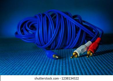 Aux RCA sound cable blue